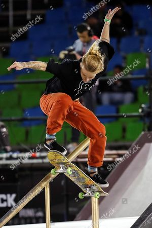 Dutch Candy Jacobs in action during the semifinals of the 'Street' category of the Skate World Championship, at the Anhembi Park of Sao Paulo, Brazil, 21 September 2019.