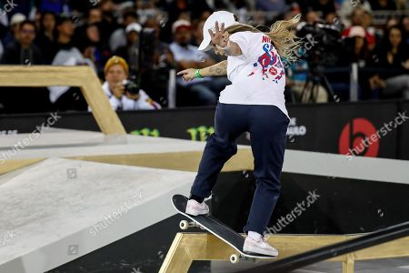 Stock Photo of Brazilian Pamela Rosa in action during the semifinals of the 'Street' category of the Skate World Championship, at the Anhembi Park of Sao Paulo, Brazil, 21 September 2019.