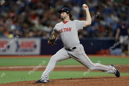 Boston Red Sox relief pitcher Josh Taylor during the seventh inning of a baseball game against the Tampa Bay Rays, in St. Petersburg, Fla
