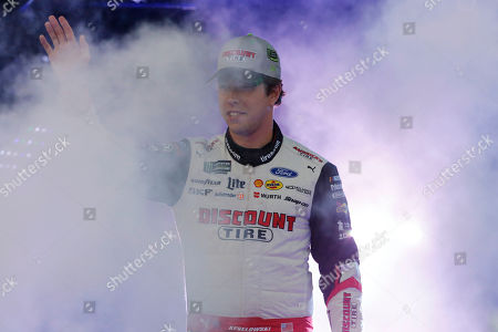 Pole-sitter Brad Keselowski greets fans during driver introductions for the NASCAR Cup Series auto race at Richmond Raceway in Richmond, Va