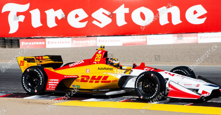 Monterey, CA, U.S.A. Andretti Autosport driver Ryan Hunter-Reay (28) coming out of turn 3 during the Firestone Grand Prix of Monterey IndyCar Practice # 3 at Weathertech Raceway Laguna Seca Monterey, CA Thurman James / CSM