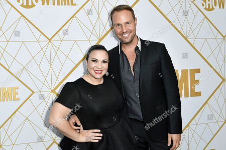 Gloria Calderon Kellett, Brent Miller. Gloria Calderon Kellett, left, and Brent Miller attend the 2019 Primetime Emmy Awards - Showtime Emmy Eve party at the San Vicente Bungalows, in West Hollywood, Calif