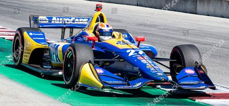 Monterey, CA, U.S.A. Andretti Autosport driver Alexander Rossi (27) coming out of turn11 heading down the home straight away during the Firestone Grand Prix of Monterey IndyCar Qualifying at Weathertech Raceway Laguna Seca Monterey, CA Thurman James / CSM