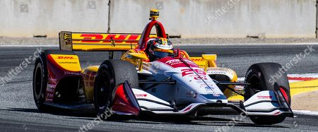 Stock Image of Monterey, CA, U.S.A. Andretti Autosport driver Ryan Hunter-Reay (28) coming out of turn11 heading down the home straight away during the Firestone Grand Prix of Monterey IndyCar Qualifying at Weathertech Raceway Laguna Seca Monterey, CA Thurman James / CSM
