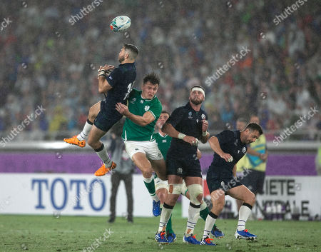 Tommy Seymour - Scotland winger leaps for a high ball with Jacob Stockdale.