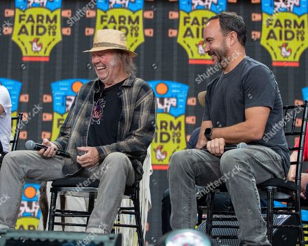 Neil Young and Dave Matthews attend a news conference