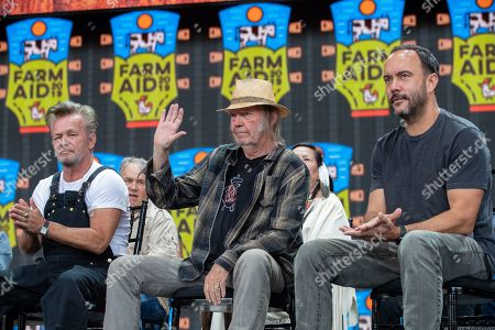 John Mellencamp, Neil Young, and Dave Matthews attend a news conference