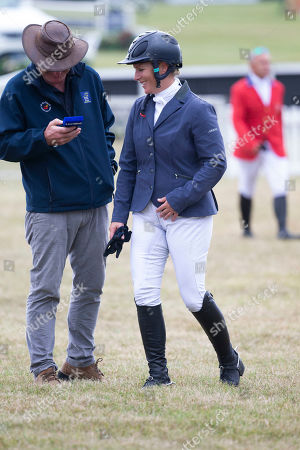 Zara Tindall does a radio interview with Rupert Bell after her show jumping round.