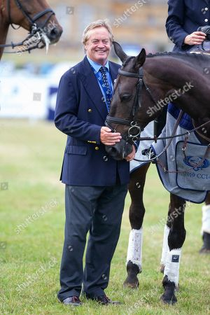 Stock Photo of The Duke of Marlborough at the presentation ceremony at the end of the Ssangyong Blenheim Horse Trails.