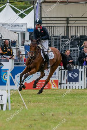 Stock Image of Piggy French wins on Brookfield Inocent. Competing in the Showjumping on Day 4 of Blenheim International Horse Trials.