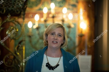Stock Image of Stella Creasy speech at a fringe event by the Jewish Labour Movement at middle Street Brighton Synagogue, during the second day of the 2019 Labour Party Conference