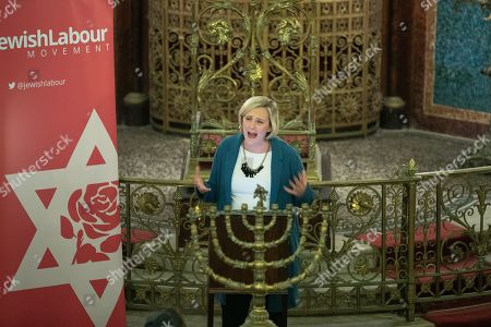 Stock Photo of Stella Creasy speech at a fringe event by the Jewish Labour Movement at middle Street Brighton Synagogue, during the second day of the 2019 Labour Party Conference
