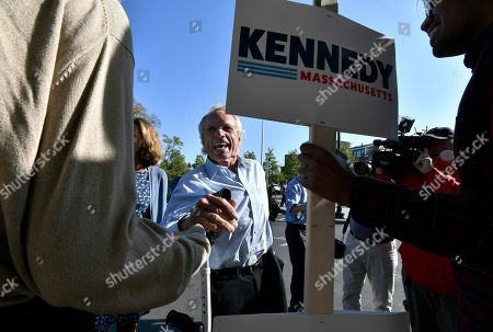 Former congressman Joseph Kennedy II, father of, Democratic U.S. Rep. Joseph Kennedy III, D-Mass.,greets a supporter as he arrives for his son's announcement of his candidacy for the Senate, in Boston. Kennedy will challenge incumbent Sen. Ed Markey in the Democratic primary