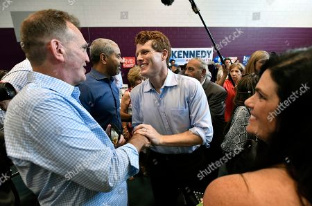 Democratic U.S. Rep. Joseph Kennedy III, D-Mass., greets a supporter after announcing his candidacy for the Senate, in Boston. Kennedy will challenge incumbent Sen. Ed Markey in the Democratic primary
