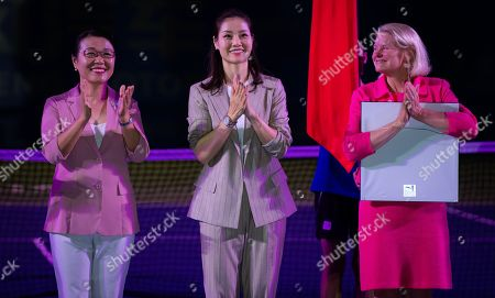 Stock Picture of Li Na of China celebrating her induction into the Tennis Hall of Fame at the 2019 Dongfeng Motor Wuhan Open Premier 5 tennis tournament