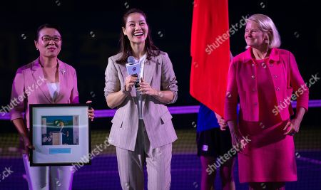 Stock Photo of Li Na of China celebrating her induction into the Tennis Hall of Fame at the 2019 Dongfeng Motor Wuhan Open Premier 5 tennis tournament