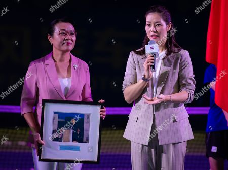 Li Na of China celebrating her induction into the Tennis Hall of Fame at the 2019 Dongfeng Motor Wuhan Open Premier 5 tennis tournament