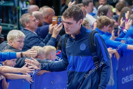 Chelsea defender Andreas Christensen (4) arrives at Stamford Bridge and greets the supporters before the Premier League match between Chelsea and Liverpool at Stamford Bridge, London