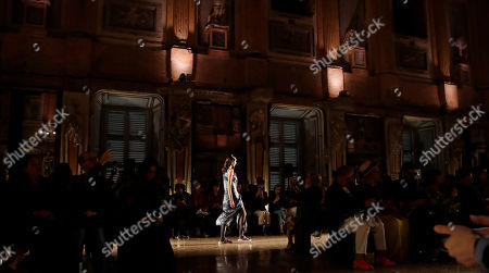 Stock Picture of A model wears a creation as part of the Atsushi Nakashima Spring-Summer 2020 collection, unveiled during the fashion week, in Milan, Italy