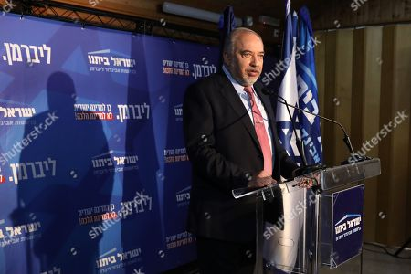 Stock Photo of Yisrael Beitenu political party leader and former Israeli defense Minister Avigdor Lieberman speaks during his party faction meeting in Neve Ilan near Jerusalem, Israel, 22 September 2019. The Israel political scene remains marred by uncertainty after the 17 September election in which the Blue and White alliance led by Benny won 33 seats, outdoing the right-wing party of Likud presided by the current acting premier Benjamin Netanyahu, who had to settle for 31 seats. Lieberman's party will have a key role in forming the government coalition, as its eight seats could shift the balance towards Gantz or Netanyahu.
