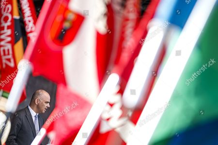 Swiss Federal Councilor Alain Berset delivers a speech before he parades with some 1,500 participants during the closing parade of the Federal Festival of Traditional Music (Fete Federale de la Musique Populaire) in Crans-Montana, Switzerland, 22 September 2019. The FFMP runs from 19 to 22 September.