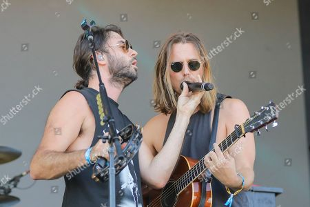 Stock Image of The Head and The Heart, Jonathan Russell, Matt Gervais. Jonathan Russell, left, and Matt Gervais of The Head and The Heart perform at Pilgrimage Music and Cultural Festival at The Park at Harlinsdale, in Franklin, Tenn