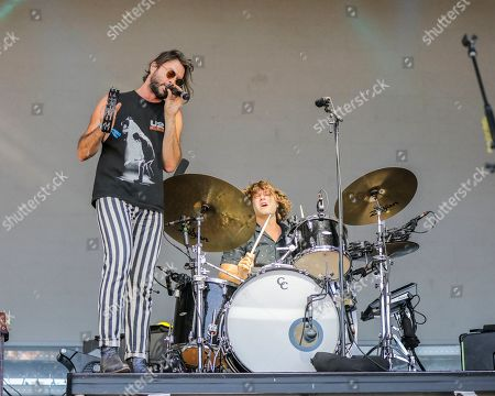 Stock Photo of The Head and The Heart, Jonathan Russell, Tyler Williams. Jonathan Russell, left, and Tyler Williams on drums of The Head and The Heart perform at Pilgrimage Music and Cultural Festival at The Park at Harlinsdale, in Franklin, Tenn