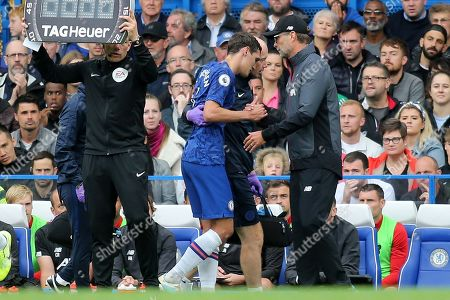 Liverpool Manager, Jurgen Klopp, consoles Chelsea's Andreas Christensen after he was forced to leave the field with an injury during Chelsea vs Liverpool, Premier League Football at Stamford Bridge on 22nd September 2019