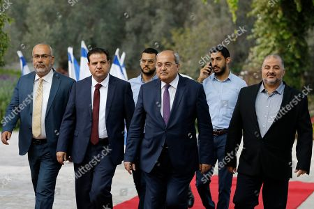 (L-R) Members of the Joint List Osama Saadi, Ayman Odeh, Ahmad Tibi and Mansour Abbas arrive for consultation with the Israeli president on forming the new government, in Jerusalem, 22 September 2019. Consultations to form a new Israeli government are ongoing with the sponsorship of the President Reuven Rivlin.