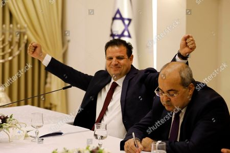 Members of the Joint List Ayman Odeh (L) reacts next to Ahmad Tibi (R) during a consulting meeting with Israeli President, to decide who to task with trying to form a new government, in Jerusalem, Israel, 22 September 2019. Consultations to form the inconclusive general election, with neither Netanyahu's Likud-led coalition nor the Blue and White party, led by former military chief of staff Benny Gantz, winning enough seats to form a majority government.