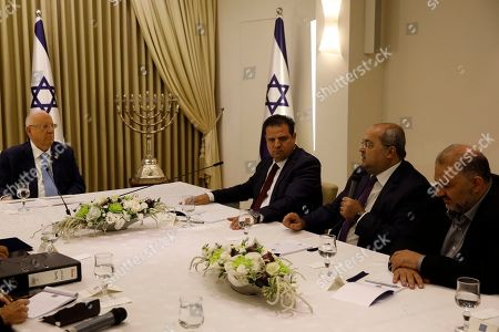 Israeli President Reuven Rivlin (L) listens to members of the Joint List Ayman Odeh (3-R), Ahmad Tibi (2-R) and Mansour Abbas (R), during a consulting meeting, to decide who to task with trying to form a new government, in Jerusalem, Israel, 22 September 2019. Consultations to form the inconclusive general election, with neither Netanyahu's Likud-led coalition nor the Blue and White party, led by former military chief of staff Benny Gantz, winning enough seats to form a majority government.