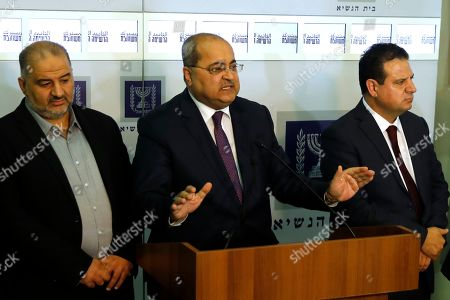Members of the Joint List Ahmad Tibi (C) speaks to the press in the presence of Ayman Odeh (R) and Mansour Abbas (L) following their consulting meeting with Israeli President, to decide who to task with trying to form a new government, in Jerusalem, Israel, 22 September 2019. Consultations to form the inconclusive general election, with neither Netanyahu's Likud-led coalition nor the Blue and White party, led by former military chief of staff Benny Gantz, winning enough seats to form a majority government.