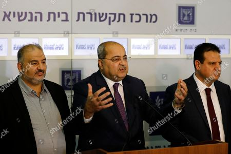 Members of the Joint List Ahmad Tibi (C) speaks to the press in the presence of Ayman Odeh (R) and Mansour Abbas (L) following their consulting meeting with Israeli President, to decide who to task with trying to form a new government, in Jerusalem, in Jerusalem, Israel, 22 September 2019. Consultations to form the inconclusive general election, with neither Netanyahu's Likud-led coalition nor the Blue and White party, led by former military chief of staff Benny Gantz, winning enough seats to form a majority government.