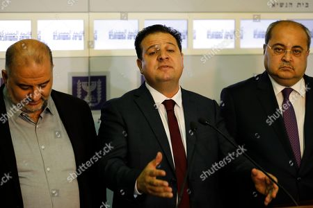 Stock Picture of Members of the Joint List Ayman Odeh (C) speaks to the press in the presence of Ahmad Tibi (R) and Mansour Abbas (L) following their consulting meeting with Israeli President, to decide who to task with trying to form a new government, in Jerusalem, Israel, 22 September 2019. Consultations to form the inconclusive general election, with neither Netanyahu's Likud-led coalition nor the Blue and White party, led by former military chief of staff Benny Gantz, winning enough seats to form a majority government.