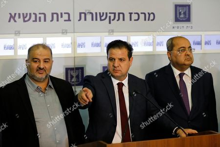 Members of the Joint List Ayman Odeh (C) speaks to the press in the presence of Ahmad Tibi (R) and Mansour Abbas (L) following their consulting meeting with Israeli President, to decide who to task with trying to form a new government, in Jerusalem, Israel, 22 September 2019. Consultations to form the inconclusive general election, with neither Netanyahu's Likud-led coalition nor the Blue and White party, led by former military chief of staff Benny Gantz, winning enough seats to form a majority government.