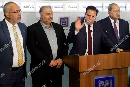 Stock Picture of Members of the Joint List Ayman Odeh (C) speaks to the press in the presence of Ahmad Tibi (R), Osama Saadi (L) and Mansour Abbas (2nd-L) following their consulting meeting with Israeli President, to decide who to task with trying to form a new government, in Jerusalem, Israel, 22 September 2019. Consultations to form the inconclusive general election, with neither Netanyahu's Likud-led coalition nor the Blue and White party, led by former military chief of staff Benny Gantz, winning enough seats to form a majority government.