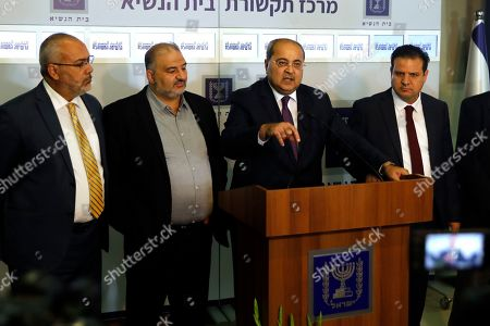 Stock Image of Members of the Joint List Ahmad Tibi (C) speaks to the press in the presence of Ayman Odeh (R), Osama Saadi (L) and Mansour Abbas (2nd-L) following their consulting meeting with Israeli President, to decide who to task with trying to form a new government, in Jerusalem, Israel, 22 September 2019. Consultations to form the inconclusive general election, with neither Netanyahu's Likud-led coalition nor the Blue and White party, led by former military chief of staff Benny Gantz, winning enough seats to form a majority government.