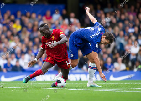 Said Mane of Liverpool is fouled by Andreas Christensen of Chelsea