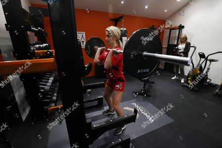 Helen Skelton at the England women's rugby league training session.