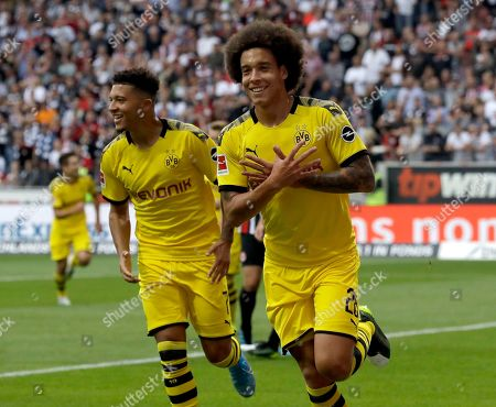 Dortmund's Axel Witsel, right, celebrates after scoring the opening goal during the Bundesliga soccer match between Eintracht Frankfurt and Borussia Dortmund in the Commerzbank Arena in Frankfurt, Germany, Sunday, Sept.22, 2019