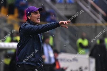 Fiorentina's head coach Vincenzo Montella reacts during the Italian Serie A soccer match Atalanta vs Fiorentina at Stadio Tardini in Parma, Italy, 22 September 2019.
