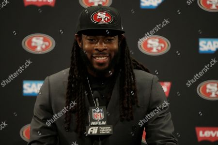 San Francisco 49ers cornerback Richard Sherman speaks at a news confernece after an NFL football game against the Pittsburgh Steelers in Santa Clara, Calif