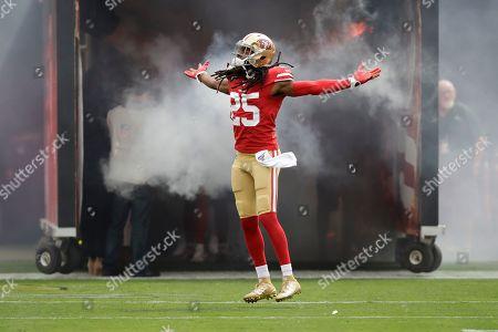 San Francisco 49ers cornerback Richard Sherman (25) is introduced before an NFL football game against the Pittsburgh Steelers in Santa Clara, Calif