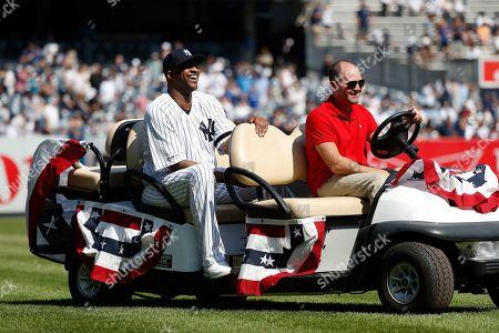 New York Yankees' CC Sabathia is honored before a baseball game against the Toronto Blue Jays of the team's baseball game, in New York