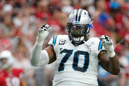Carolina Panthers offensive guard Trai Turner (70) during an NFL football game against the Arizona Cardinals, in Glendale, Ariz