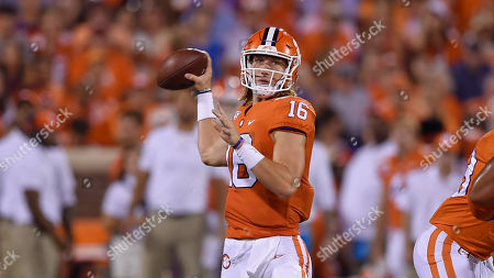 Clemson quarterback Trevor Lawrence thorws the ball during an NCAA football game on in Clemson, S.C