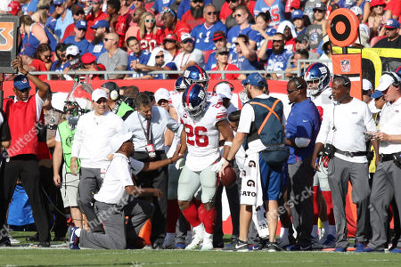 New York Giants running back Saquon Barkley (26) during the NFL game between the New York Giants and the Tampa Bay Buccaneers held at Raymond James Stadium in Tampa, Florida. Andrew J