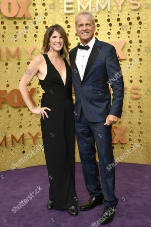 Stock Image of Mandy Fabian, Patrick Fabian. Mandy Fabian, left, and Patrick Fabian arrive at the 71st Primetime Emmy Awards, at the Microsoft Theater in Los Angeles