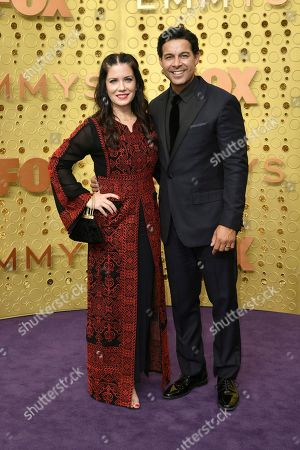Stock Image of Nicole Bordges, Jon Huertas. Nicole Bordges, left, and Jon Huertas arrive at the 71st Primetime Emmy Awards, at the Microsoft Theater in Los Angeles