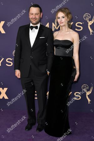 Stock Picture of Dan Fogelman, Caitlin Thompson. Dan Fogelman, left, and Caitlin Thompson arrive at the 71st Primetime Emmy Awards, at the Microsoft Theater in Los Angeles